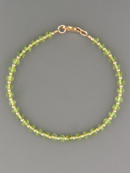 Peridot Bracelet - 3mm faceted roundels with Gold beads - P911