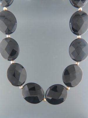 Onyx Necklace - oval faceted stones with Gold beads - OX105
