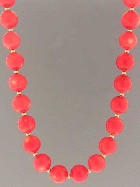 Red Coral Necklace - 12mm round stones - CO079