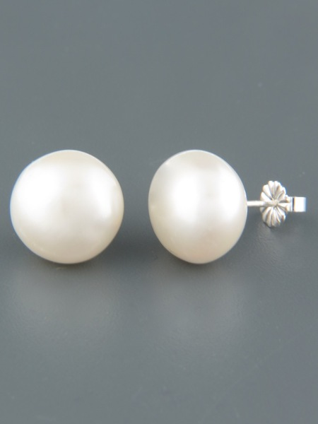 12mm white Pacific Pearl stud Earrings - Sterling Silver - YW12ZS