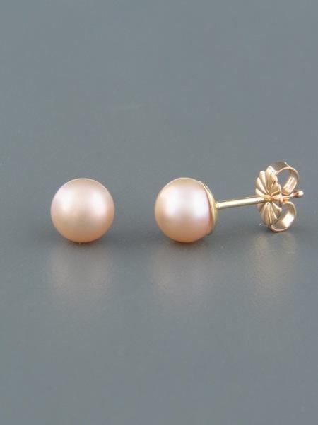 6mm pink Pearl stud Earrings - Gold - YP6ZG
