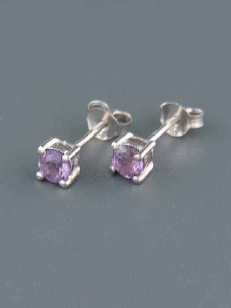 Amethyst Earrings - Sterling Silver - 4mm stones - A504B