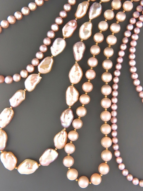 Pink, Silver & Champagne Pearl Necklaces