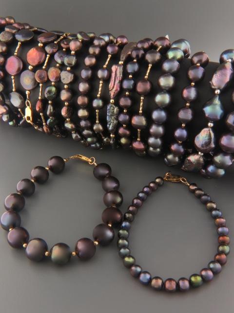 Dark, Silver & Champagne Pearl Bracelets