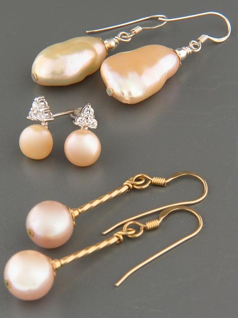 Pink, Silver & Champagne Pearl Earrings