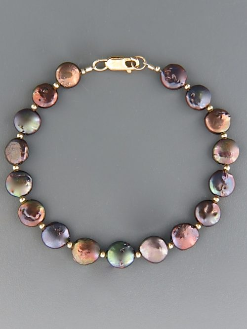 9mm Dark Coin Pearl Bracelet with 2mm round beads - YDC92B