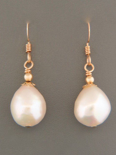 12mm Baroque Pearl Earrings - 14ct Gold Filled - YWBQ12G