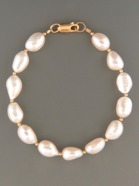 Baroque Pearl Bracelet with 2mm round beads - 8x10mm Pearls - YWBQ2B