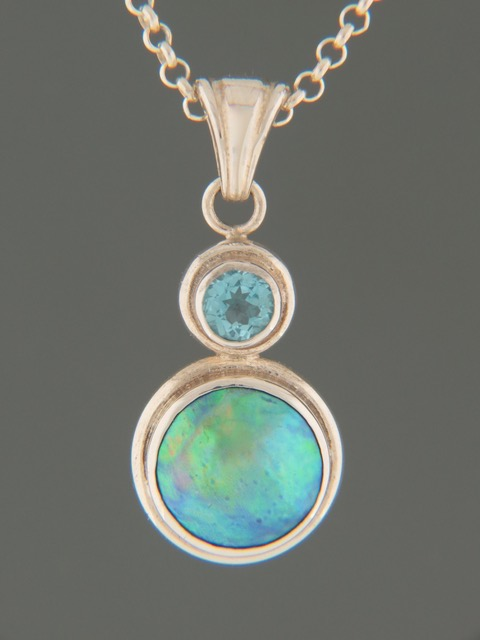 Paua Pearl Pendant with Blue Topaz - Sterling Silver - 11.5mm Pearl - PP359