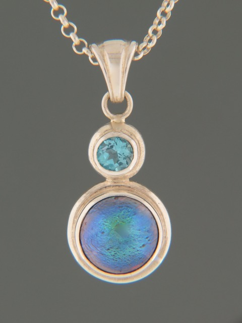 Paua Pearl Pendant with Blue Topaz - Sterling Silver - 11mm Pearl - PP323