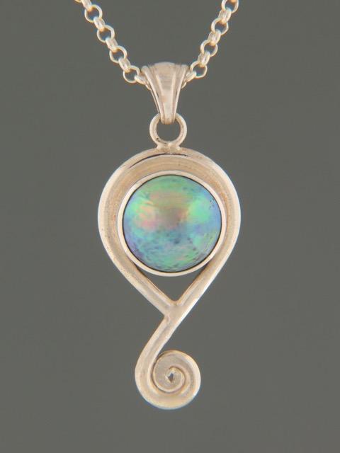 Paua Pearl Pendant - Sterling Silver - 11mm Pearl - PP363