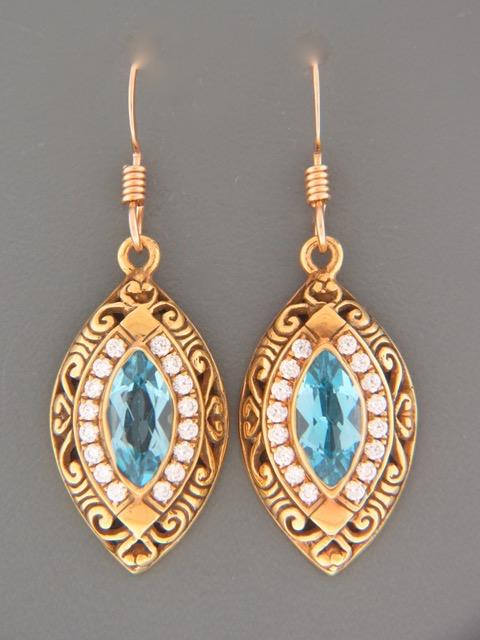 Blue Topaz Earrings - Gold Vermeil - BT514GV