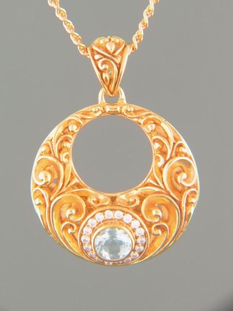 Blue Topaz Pendant - Gold Vermeil - BT321GV