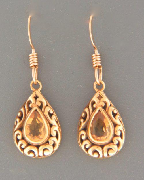 Citrine Earrings - Gold Vermeil - C542GV