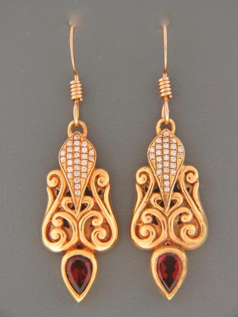 Garnet Earrings - Gold Vermeil - G623GV