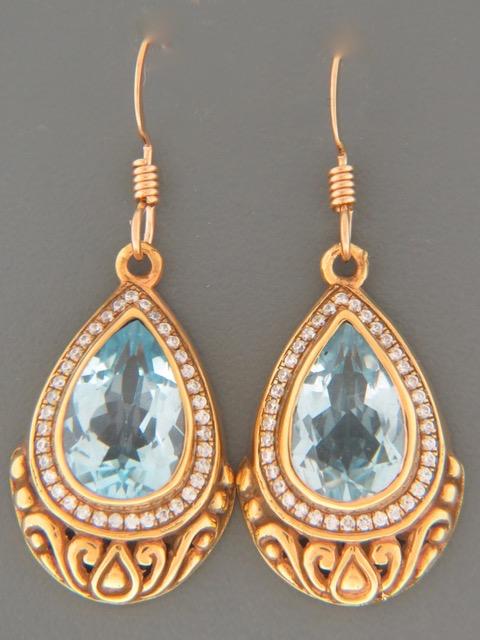Blue Topaz Earrings - Gold Vermeil - BT513GV