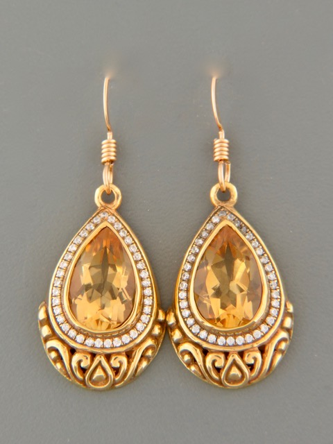 Citrine Earrings - Gold Vermeil - C500GV