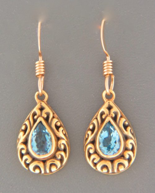 Blue Topaz Earrings - Gold Vermeil - BT593GV