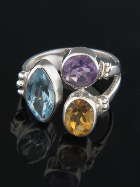 Blue Topaz, Citrine & Amethyst Ring - Sterling Silver - MIX103R