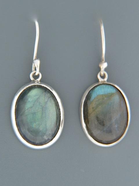 Labradorite Earrings - Sterling Silver - LAB500
