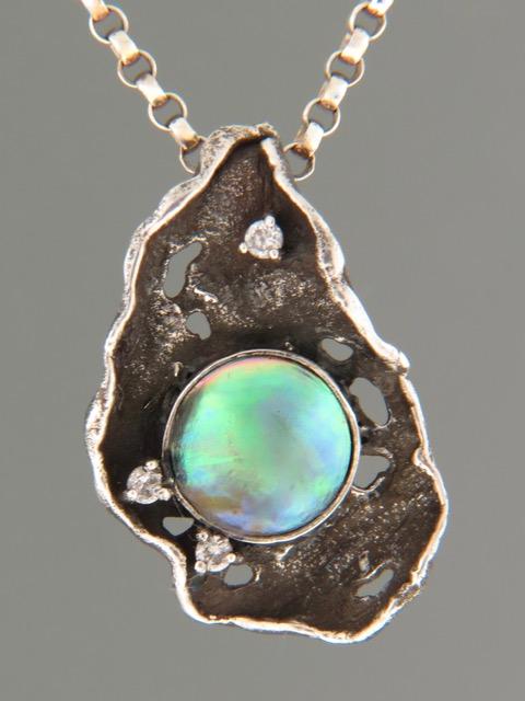 Paua Pearl Pendant - Sterling Silver - 10.5mm Pearl - PP325