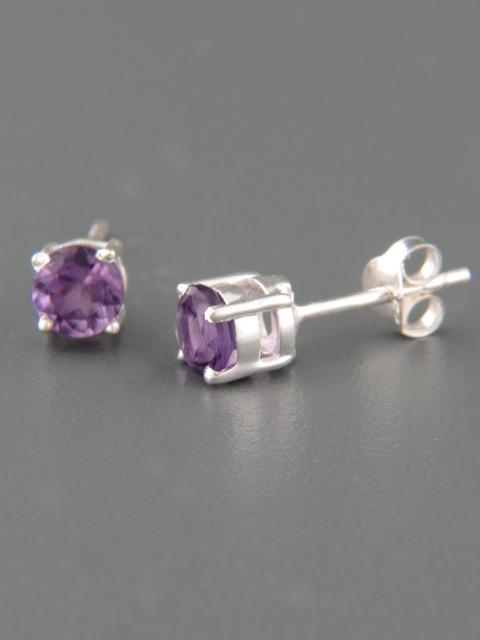 Amethyst Earrings - Sterling Silver stud - 5mm stones - A525