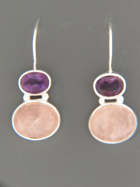 Rose Quartz & Amethyst Earrings - Sterling Silver - RQ504