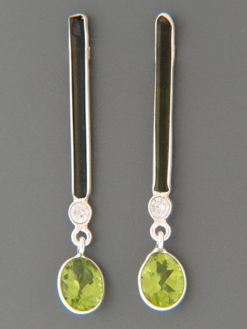Green Tourmaline & Peridot Earrings - Sterling Silver - X504