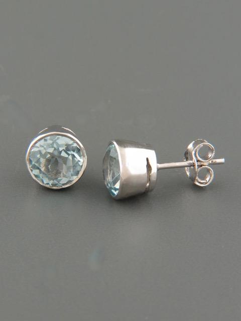 Blue Topaz Earrings - Sterling Silver - 8mm stones - BT522