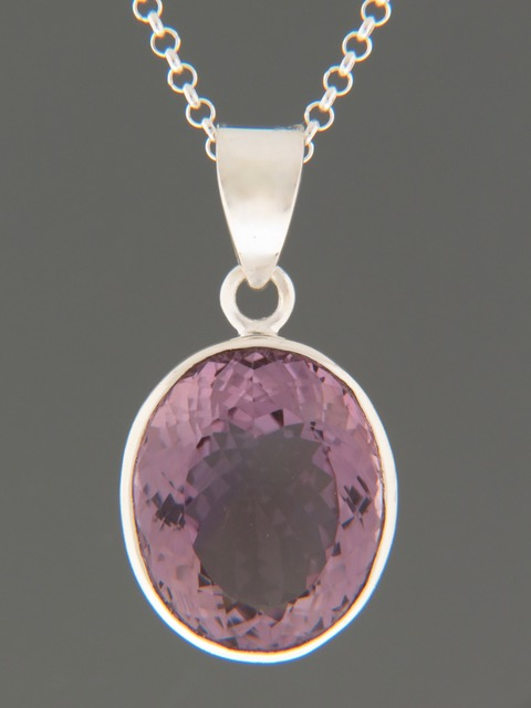 Amethyst Pendant - Sterling Silver - A324