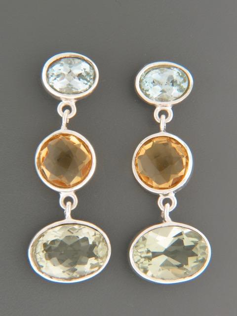 Prasiolite, Citrine & Blue Topaz Earrings - Sterling Silver - X501