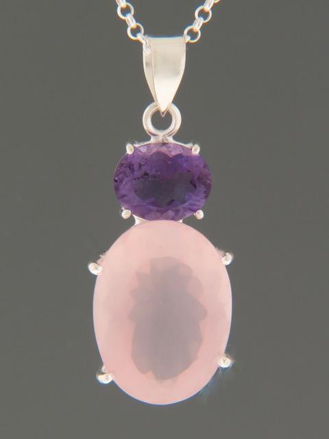 Rose Quartz & Amethyst Pendant - Sterling Silver - RQ306