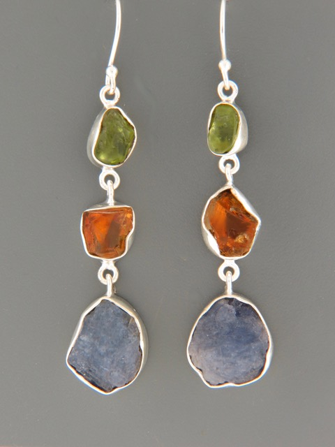 Tanzanite, Citrine & Peridot Earrings - Sterling Silver - X505