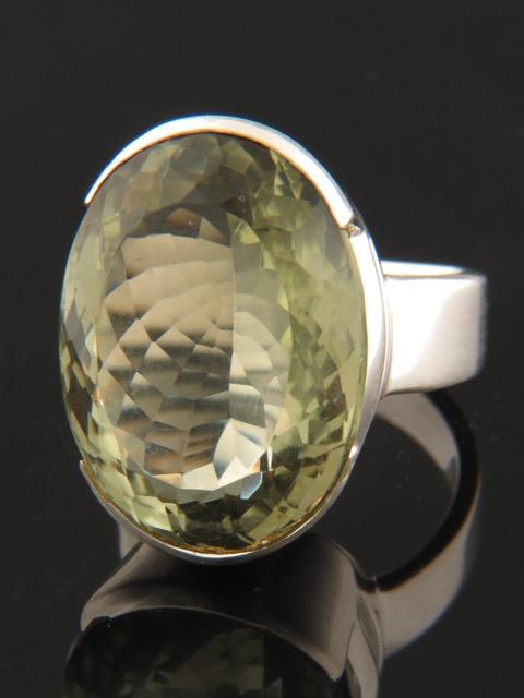 Prasiolite (Green Amethyst) Ring - Sterling Silver - PRA100R