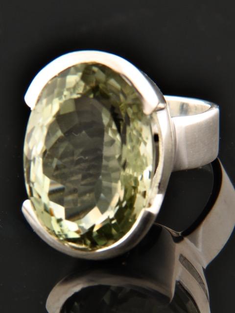Prasiolite (Green Amethyst) Ring - Sterling Silver - PRA104R