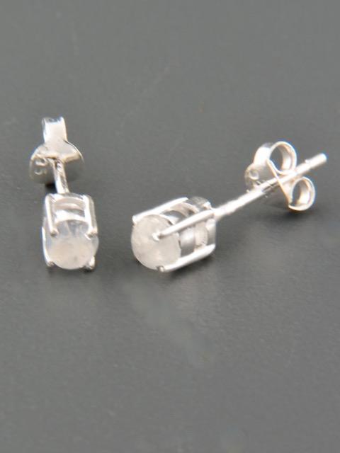 Moonstone Earrings - Sterling Silver stud - 4mm stones - MS504
