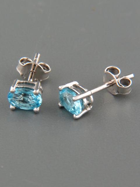 Blue Topaz Earrings - Sterling Silver stud - 4x6mm stones - BT519