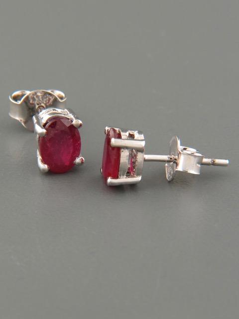 Ruby Earrings - Sterling Silver stud - 5x7mm stones - R503