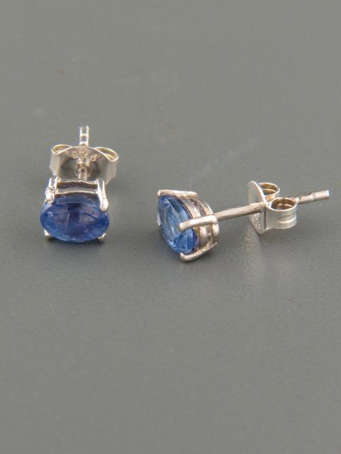 Tanzanite Earrings - Sterling Silver stud - 5x7mm stones - TNZ504