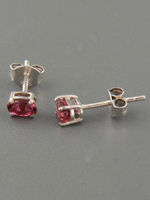 Pink Tourmaline earrings - Sterling Silver stud - 3x5mm stones - T501