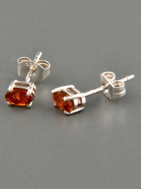 Orange Tourmaline Earrings - Sterling Silver stud - 3x5mm stones - T502