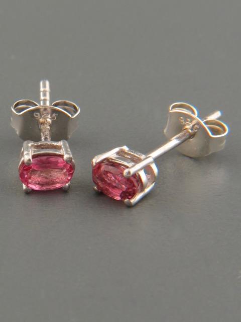 Pink Tourmaline Earrings - Sterling Silver stud - 3x5mm stones - T503
