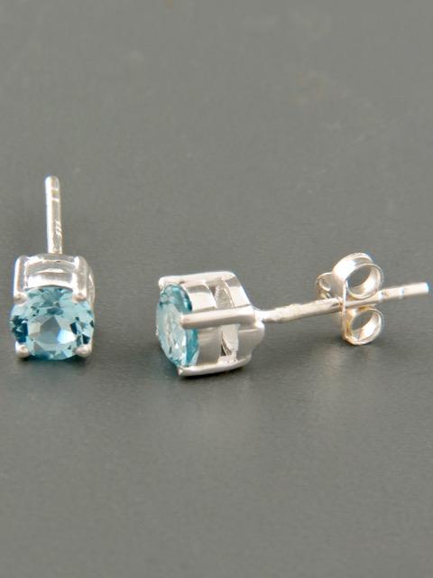 Blue Topaz Earrings - Sterling Silver stud - 5mm stones - BT518