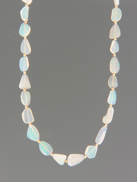 Opal Necklace with Gold beads - OP001