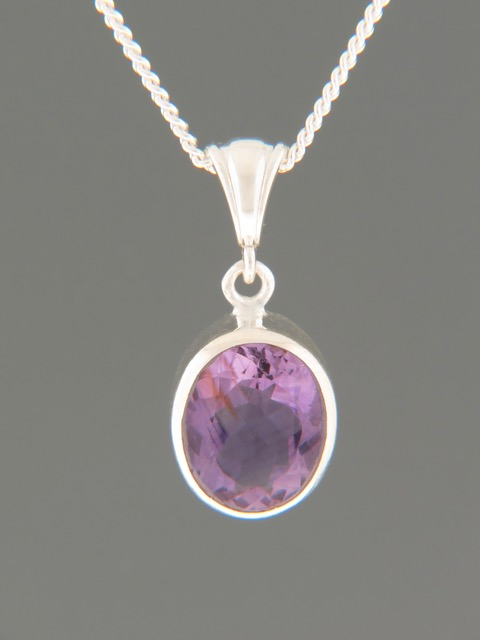Amethyst Pendant - Sterling Silver - A363