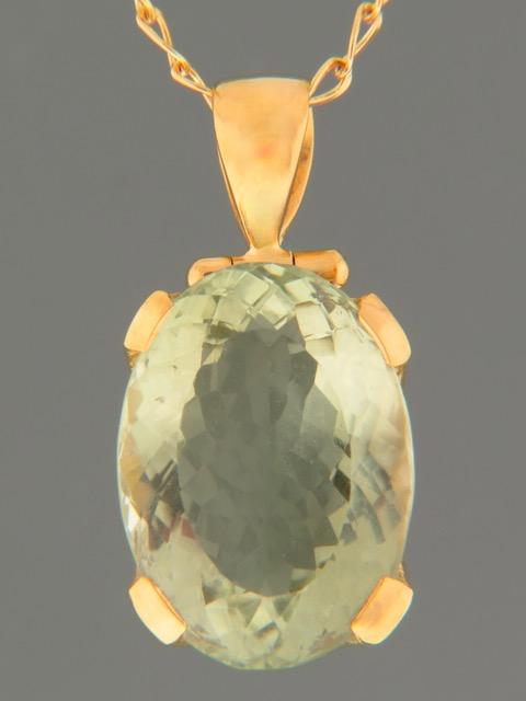 Prasiolite (Green Amethyst) Pendant - Gold Vermeil - PRA306GV
